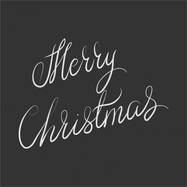 Merry Christmas. Hand drawn illustration with hand lettering