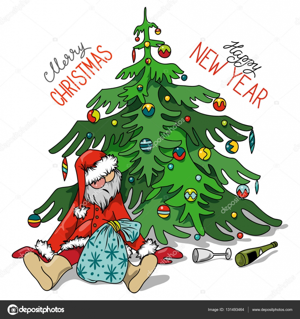 cartoon drunk santa claus with gifts under the christmas tree stock vector - Drunk Christmas