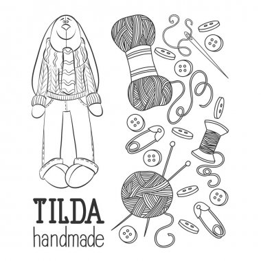 Scetch vector hand drawn set of object Hand Made Tilde doll hare cartoon doodle