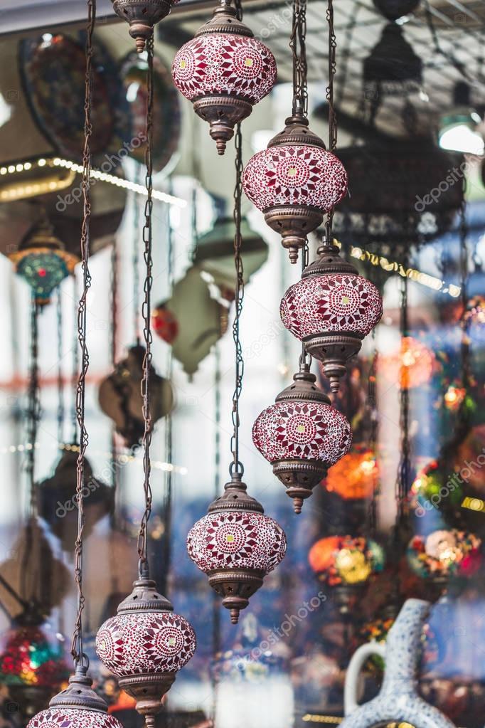 Beautiful traditional handmade turkish lamps in souvenir shop. M