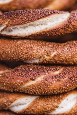 Turkish bagels simit close up.