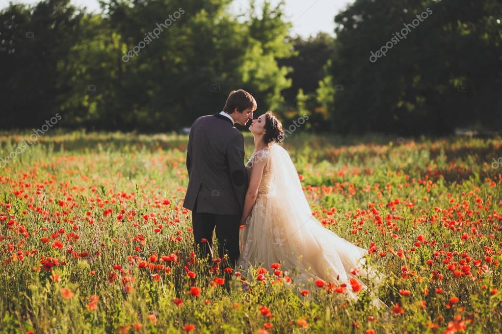 Newlyweds walking in  blossoming flowers field.