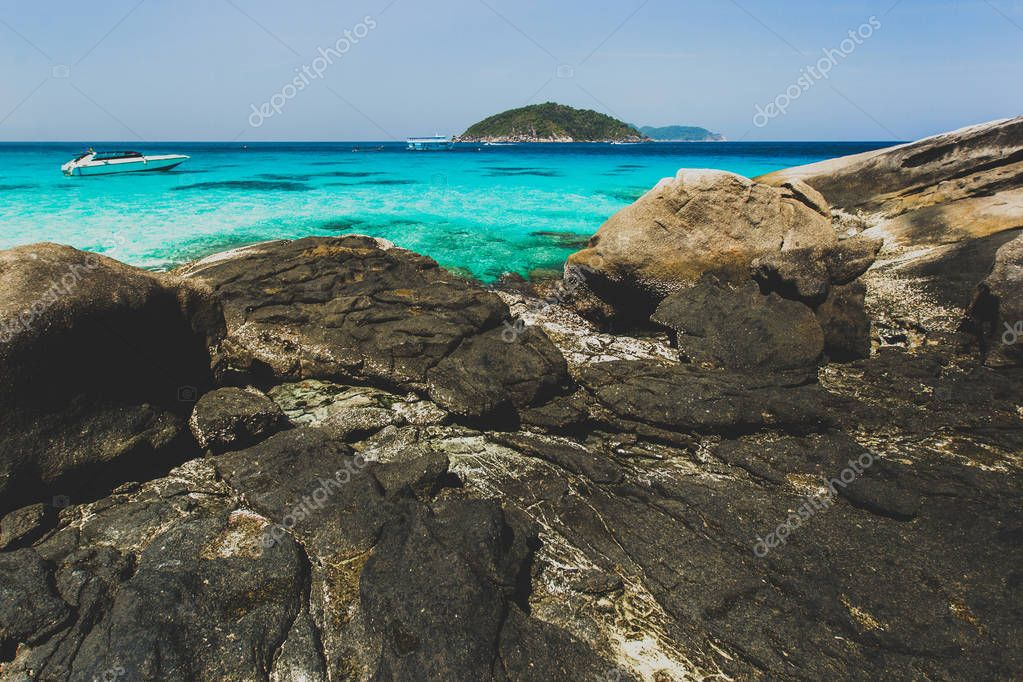 Sea bay with clear emerald water.