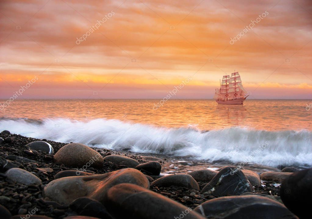 Scarlet Sails. Alone ship
