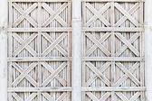 White bamboo wicker shutters