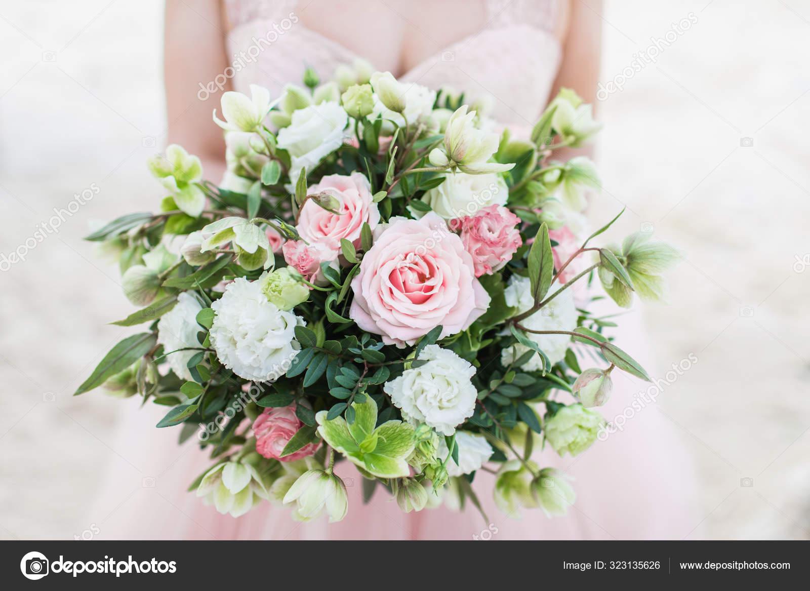 Beautiful Wedding Bouquet In Woman Hands Pink Rose Tulips Car Stock Photo C Olegbreslavtsev 323135626