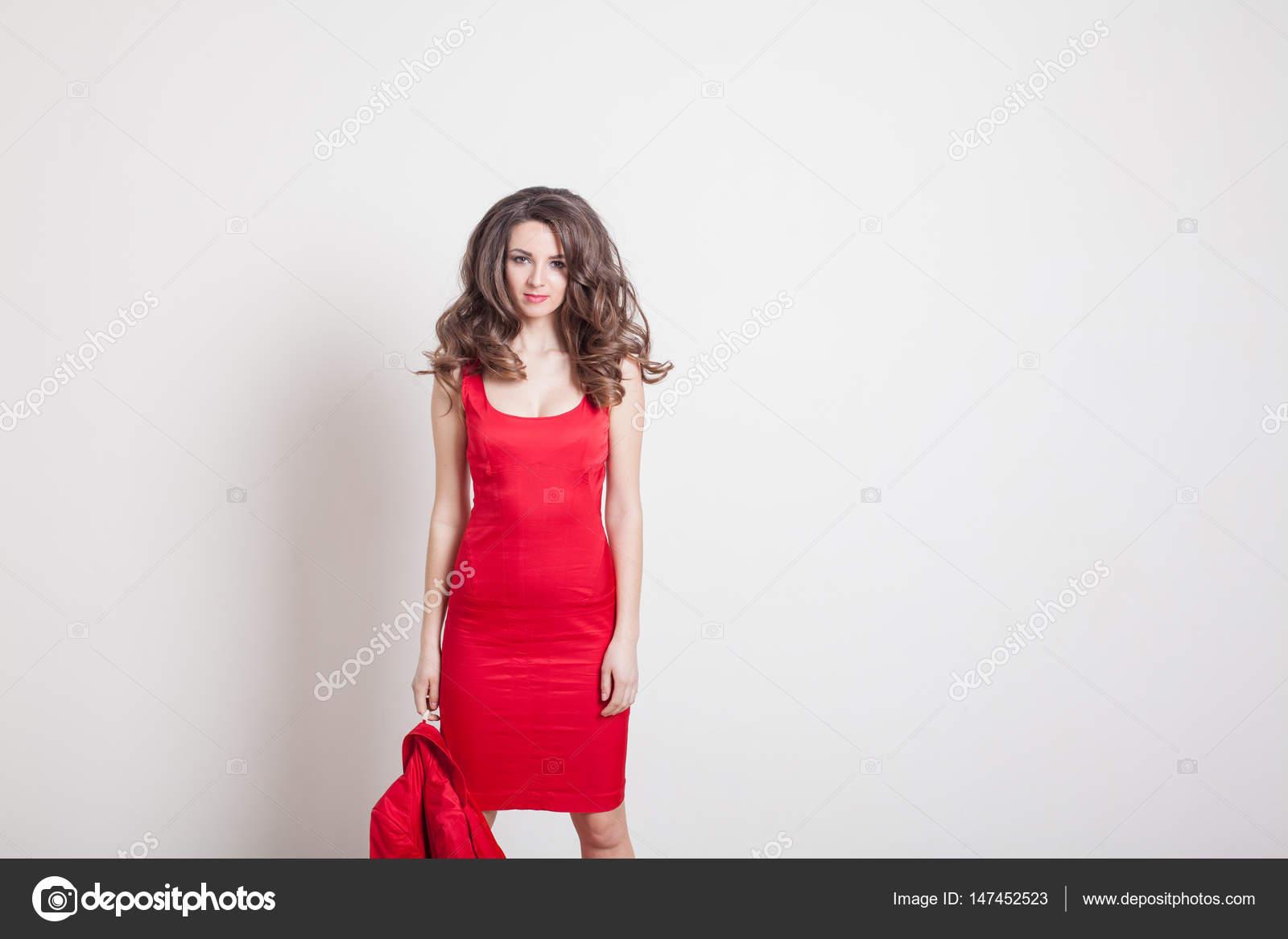 Rizos De La Chica Del Vestido Rojo Foto De Stock
