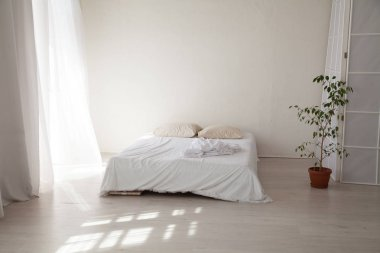 bedroom with a white bed and green plant