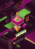 Geometrický futuristické barevně