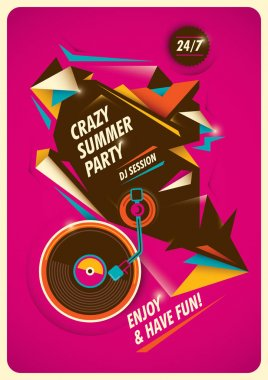 Crazy summer party poster.