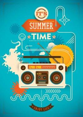 Funny summer poster. Vector illustration. stock vector