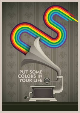 Conceptual poster with phonograph.