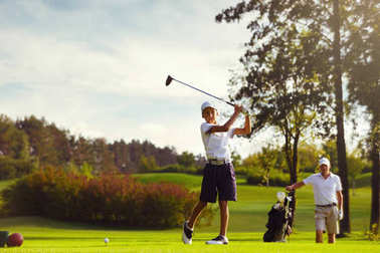 Boy practice golf