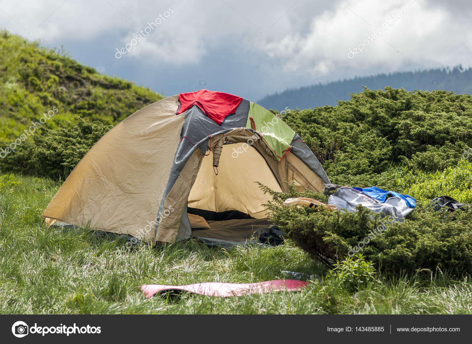 Panorama of cold foggy summer morning and tourist hikers tent in u2014 Stock Photo & Panorama of cold foggy summer morning and tourist hikers tent in ...