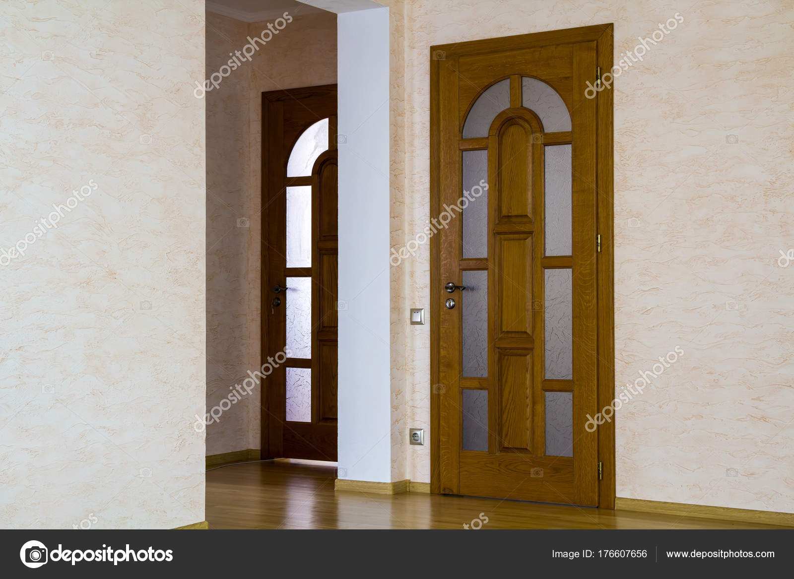 Interior of modern expensive house of apartment with wooden door u2014 Stock Photo & Interior of modern expensive house of apartment with wooden door ...