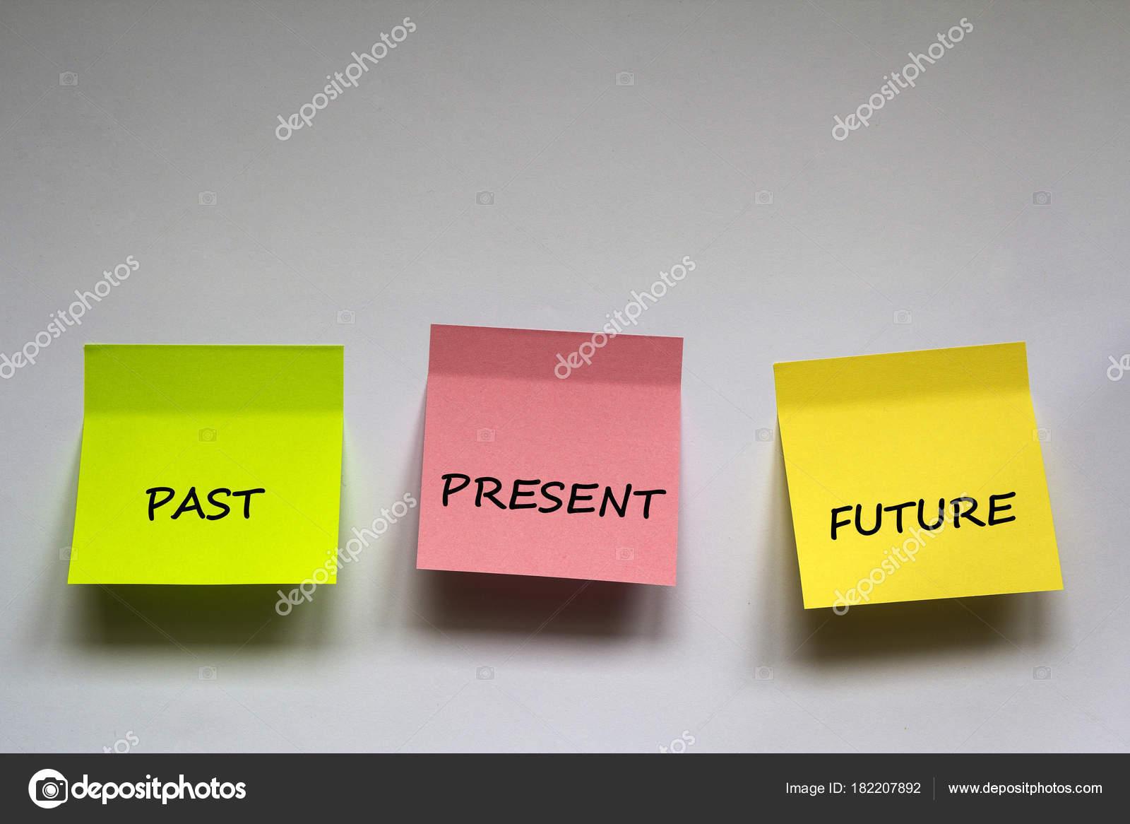 Passado Presente Futuro Frase Escrita Etiquetas Coloridas Fundo