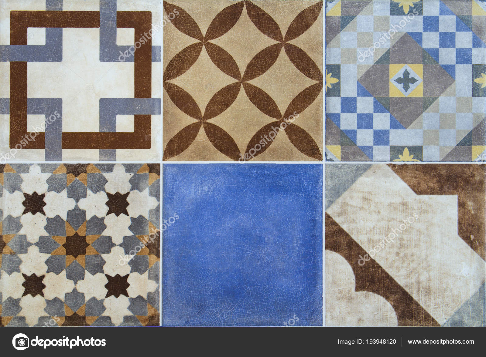 Colorful ceramic tiles with Portugal mediterranean style pattern ...