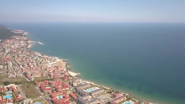 Aerial view of Sunny Beach city that is located on Black Sea shore. Top view of sand beaches with many hotel buildings and tourist infrastructure.