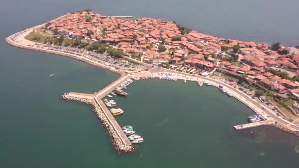 Aerial view of the ancient town of Nessebar located by the Black Sea coast in Bulgaria.