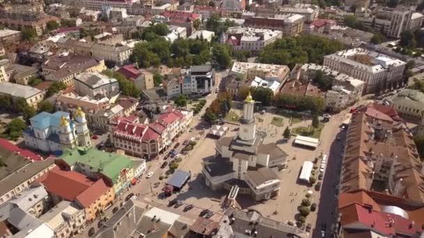Légi kilátás történelmi központjában Ivano-Frankivsk város, Ukrajna.