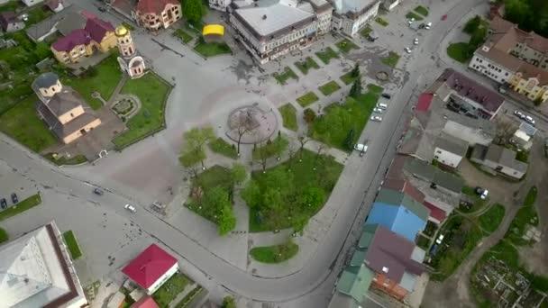 Letecký pohled na město Halych, staré ukrajinské hlavní město v Ivano-Frankivsku, Ukrajina.