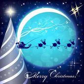 modré Vánoční pozadí s měsíc a santa doložka