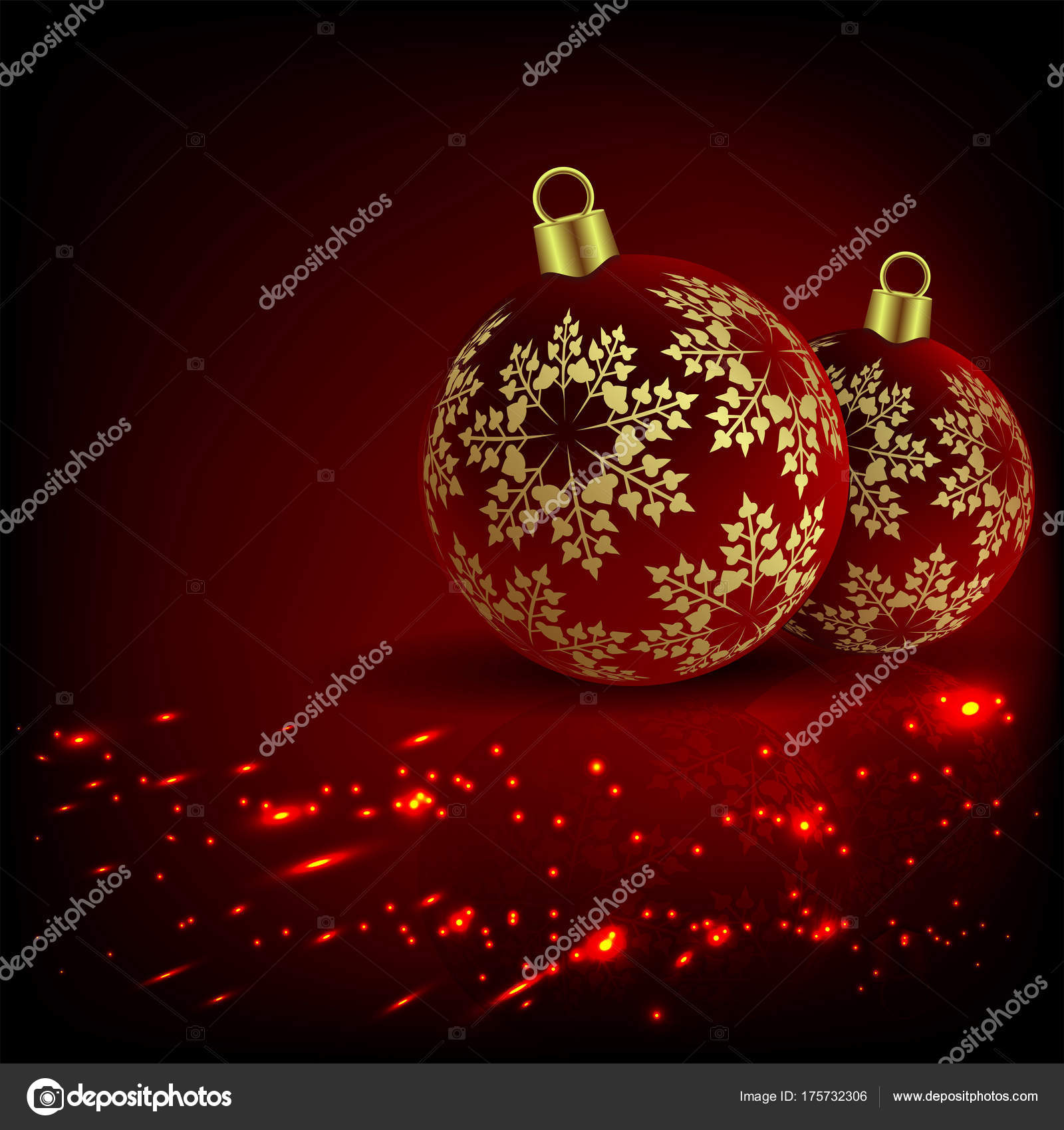 Christmas Red Fiery Design With Two Balls And Golden Snowflakes Vector By Altadi3ukr
