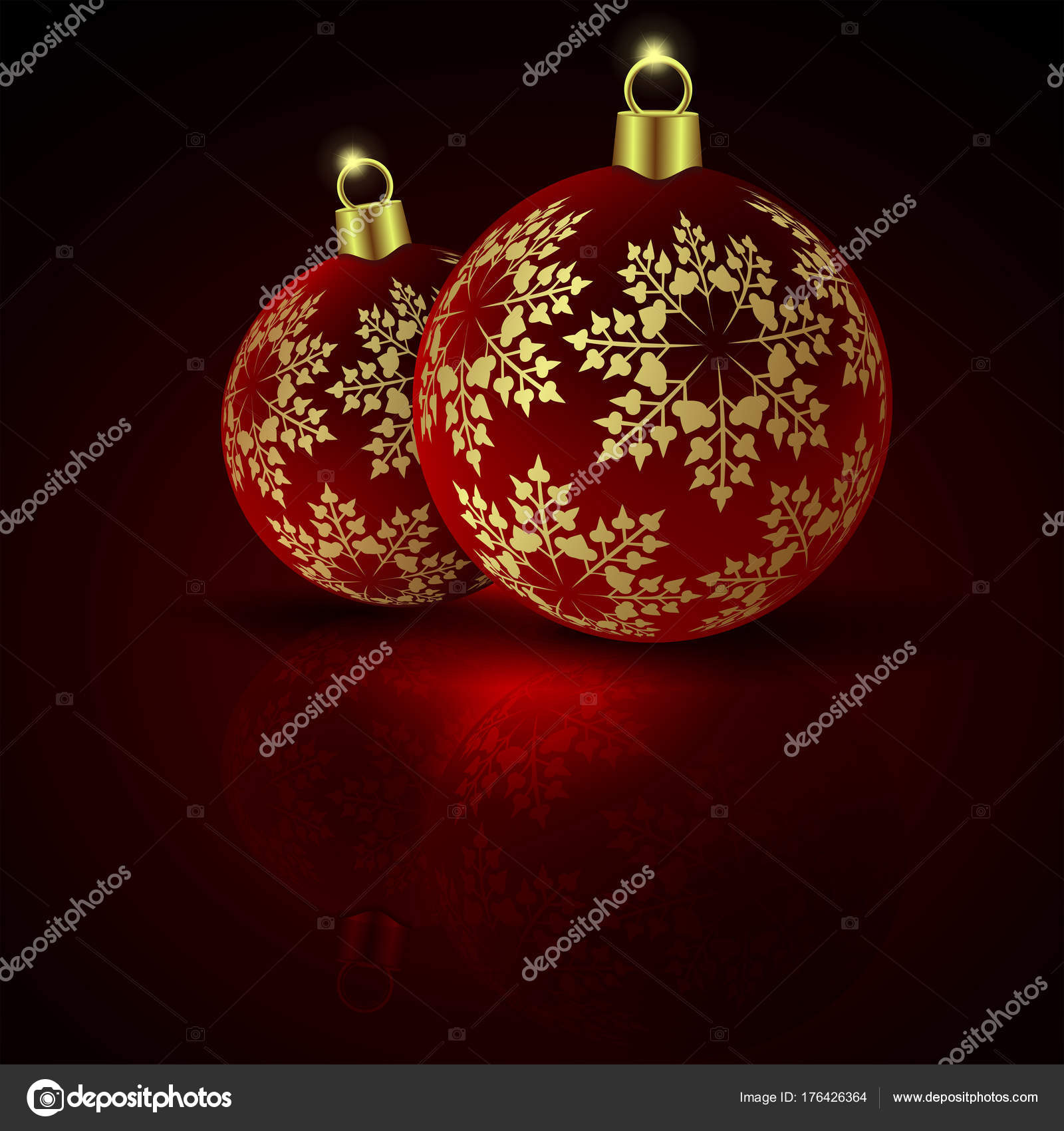 Christmas Red Balls On A Dark Background With Golden Colored Snowflakes And Mirror Image Vector By Altadi3ukr