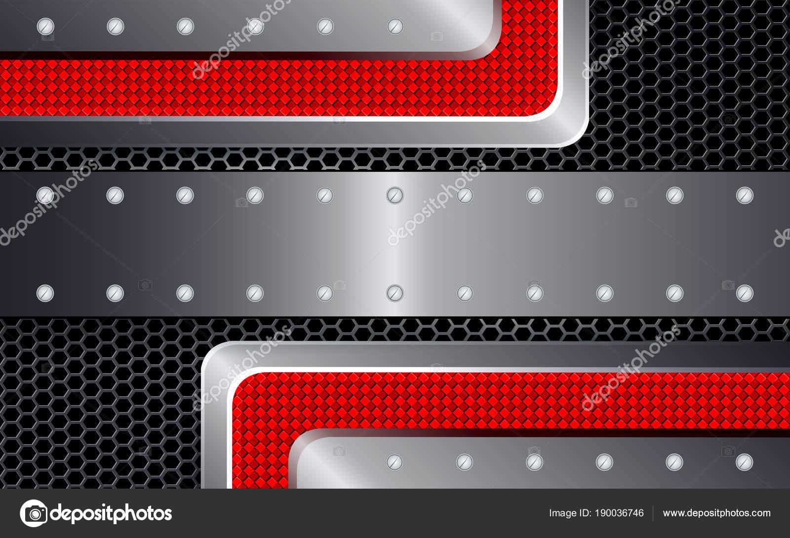 Geometrische Gestaltung mit Metallgitter und rote Relief Ecken und ...