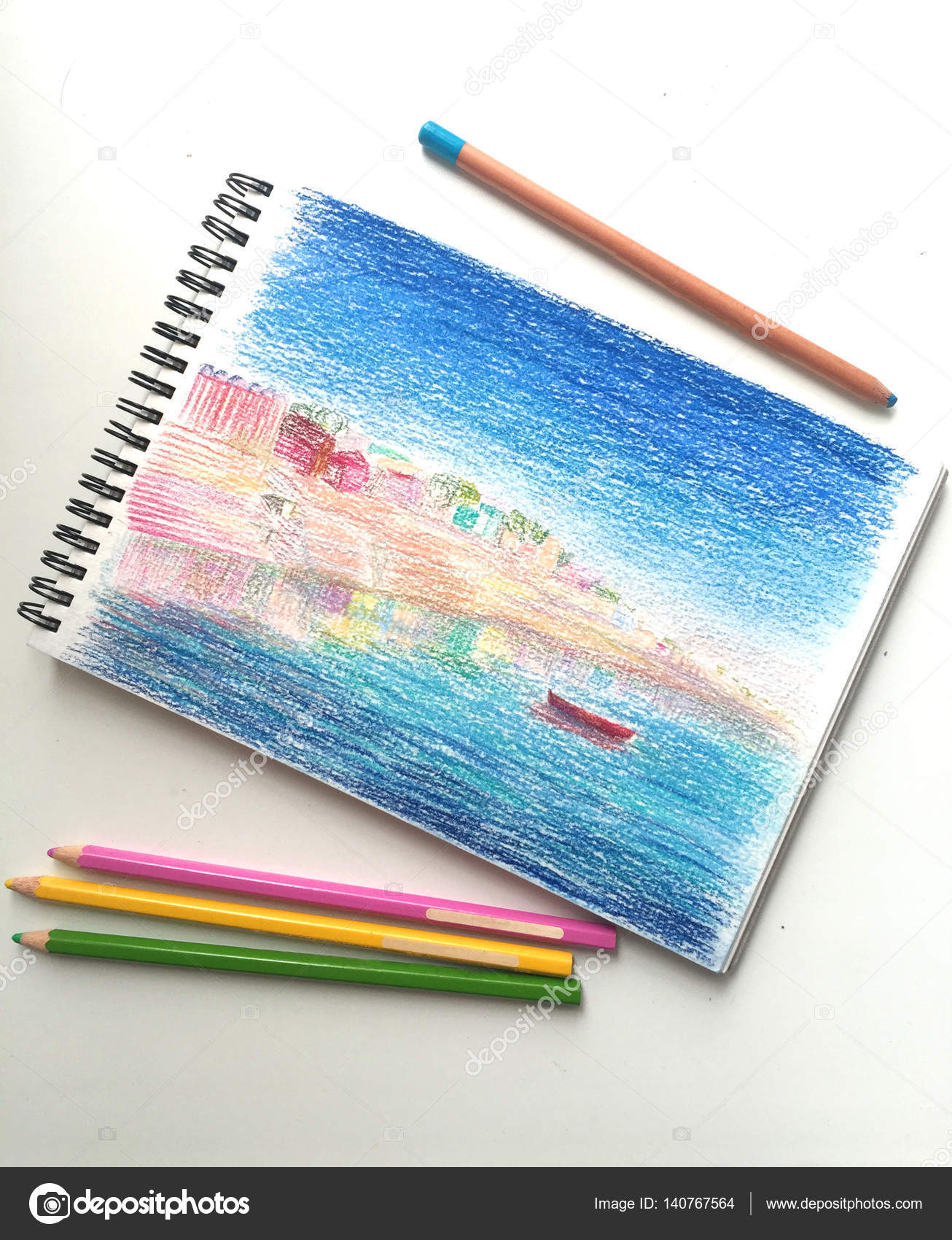 pencil drawing and pencils city landscape by pencils stock photo