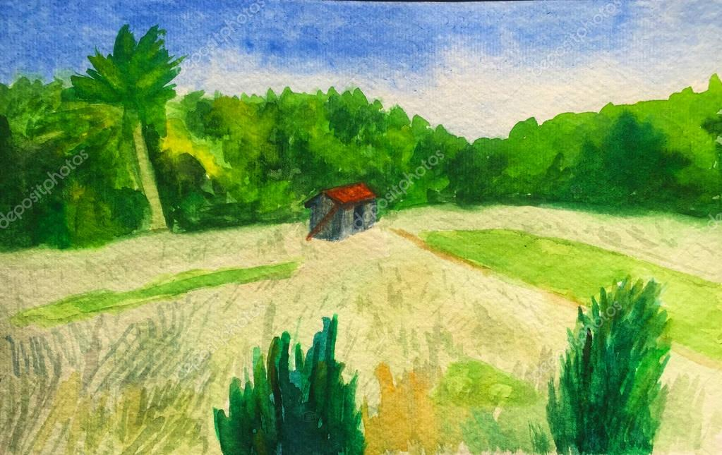 Watercolor hand-painting yellow wheat field and small house with a red roof