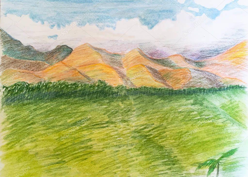 Hand-drawn sketch, travel sketchbook, hand-drawn tropical landscape