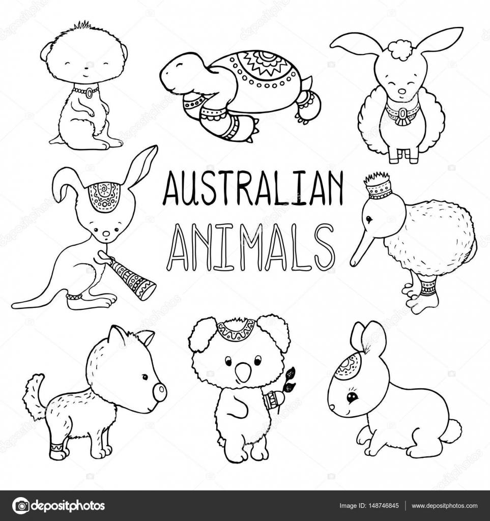 かわいいオーストラリア動物のベクトル図面を通りオーストラリア手描き