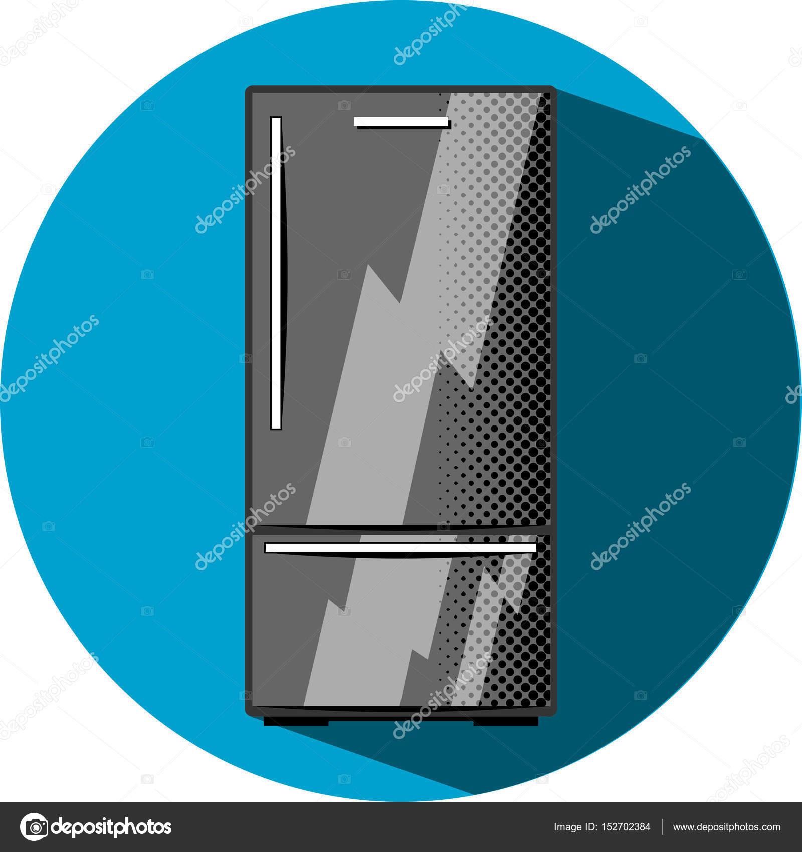 Schwarzer Kühlschrank mit Gefrierfach. Küche Gerät flach Stil Vektor ...