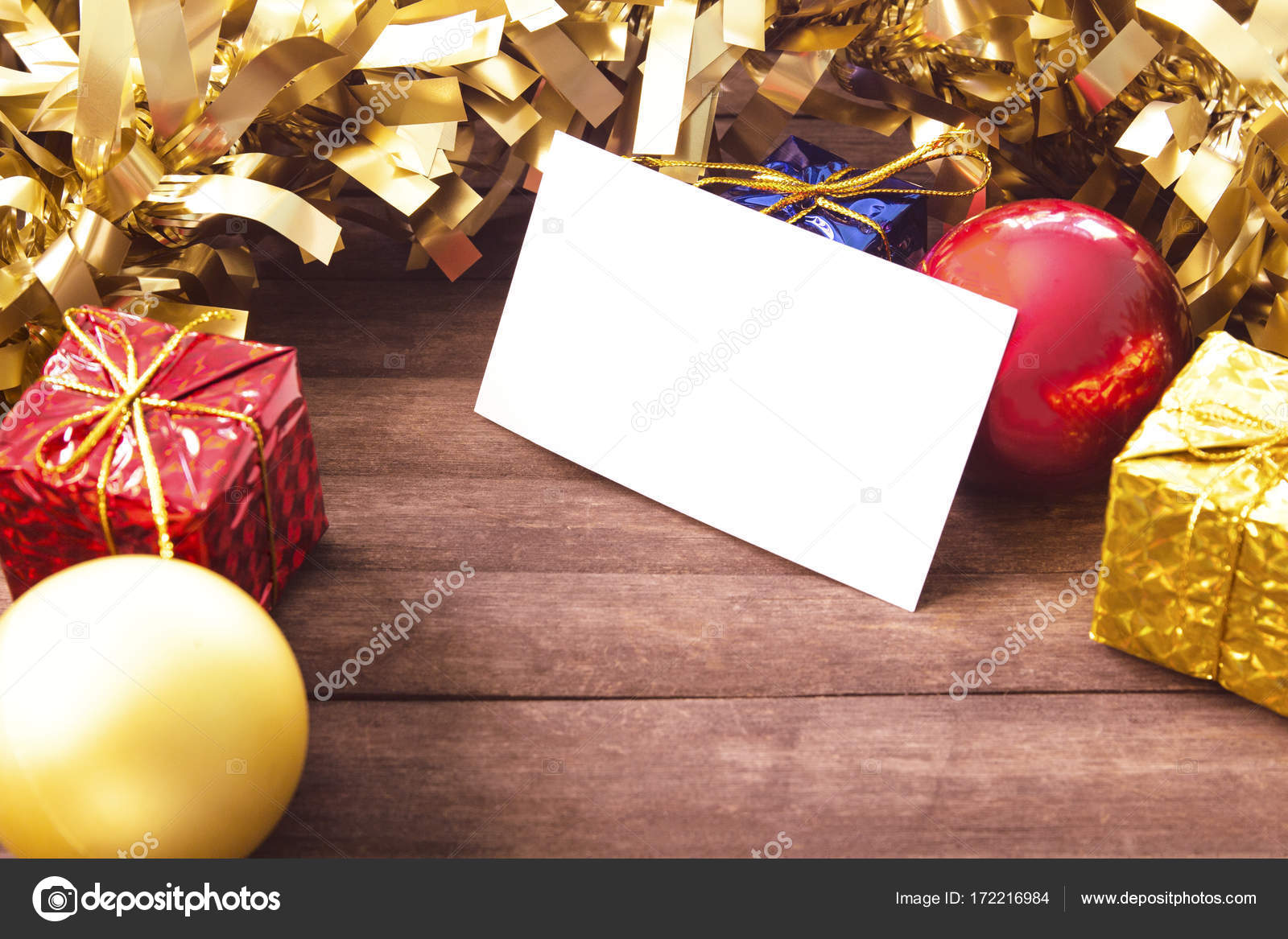 Blank business card in christmas decor on wooden background blank business card in christmas decor on wooden background christmas card mockup vintage christmas banner template red and gold new year decoration on reheart Images