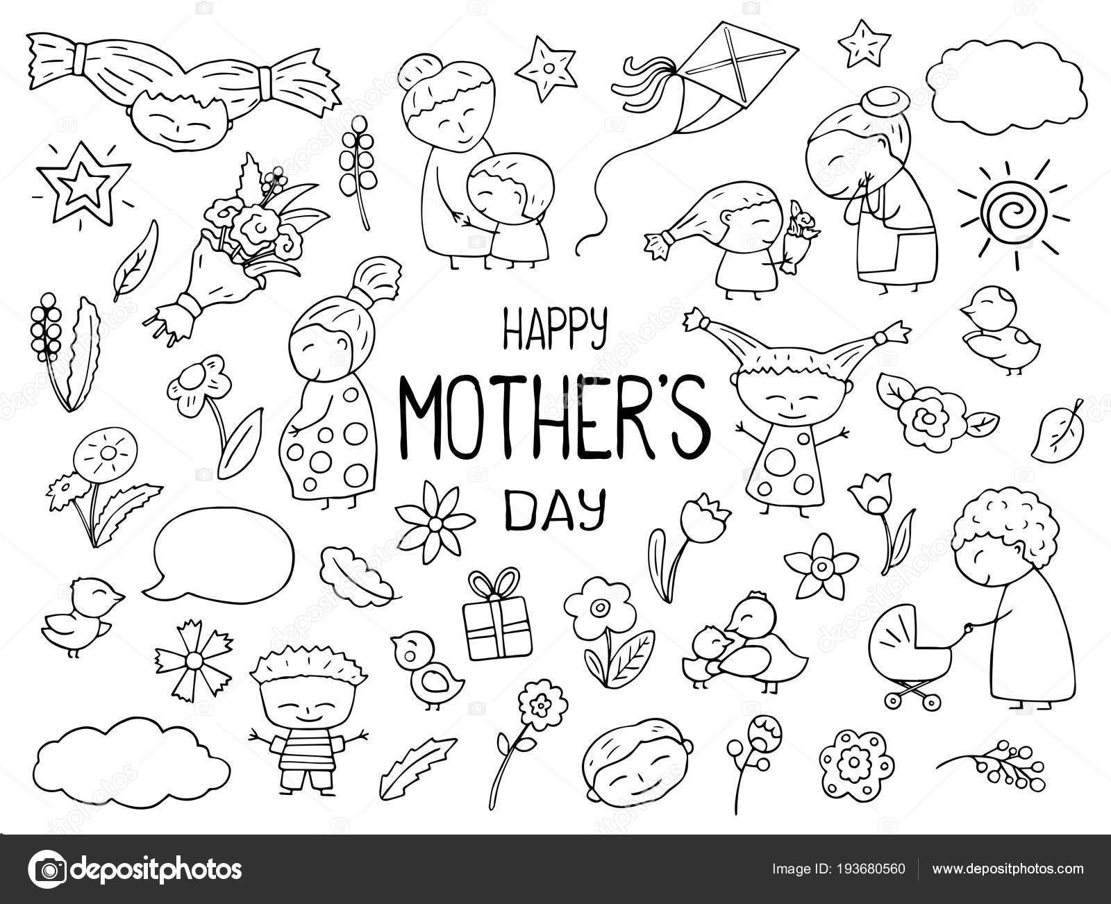 Dibujos Niños Blanco Y Negro Feliz Día De La Madre Imágenes