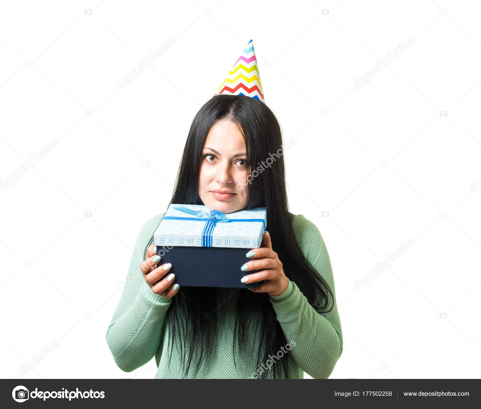 Young Cute Brunette Girl Celebrating Birthday With Party Stuff Giving Gift Photo By Ayubovazretgmail