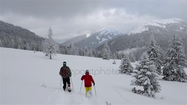 Dvojice cestujících jde na sněžnice alpská louka během sněhu