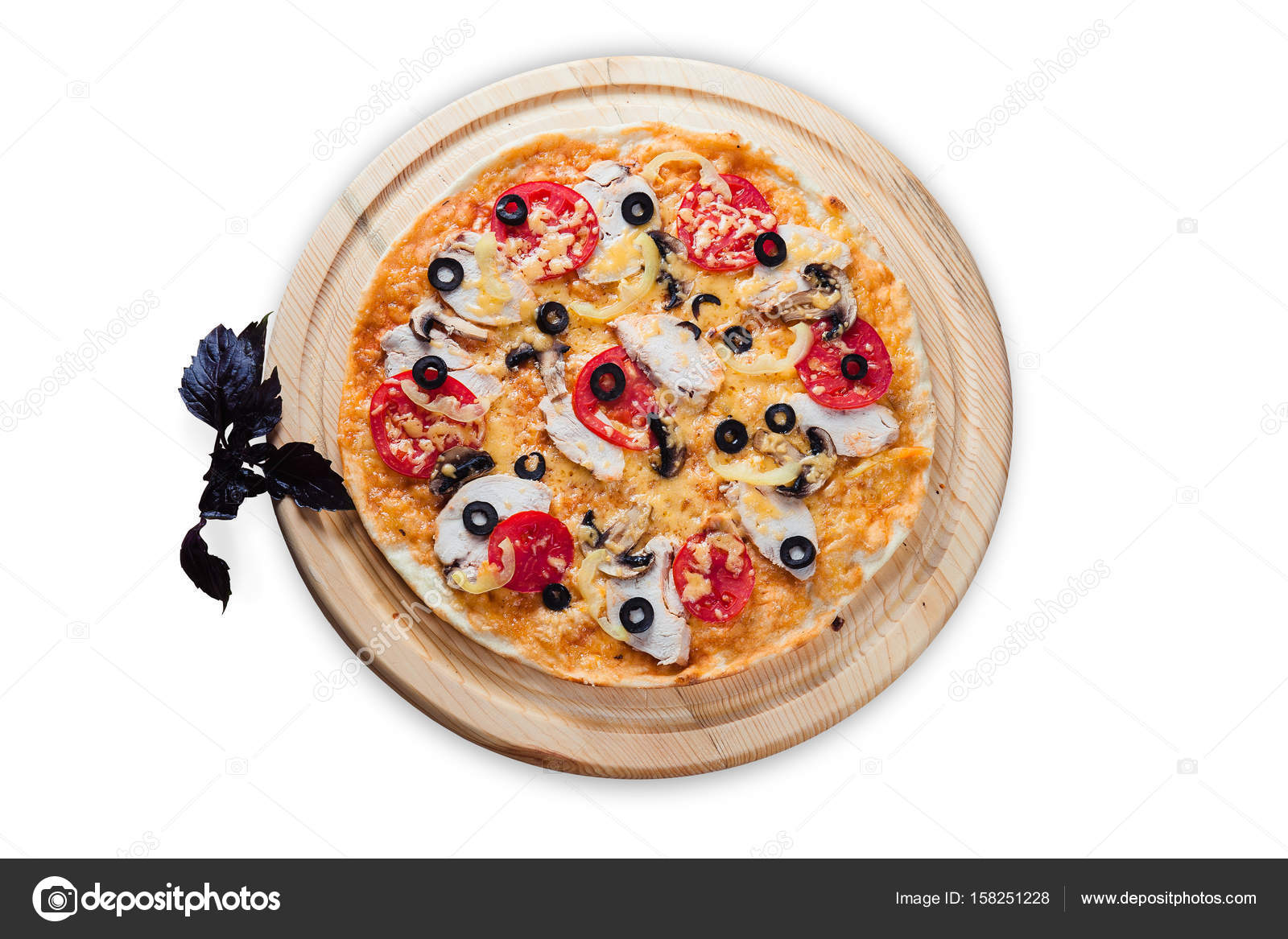 Pizza on round wooden plates on a white background u2014 Stock Photo  sc 1 st  Depositphotos & pizza on round wooden plates on a white background u2014 Stock Photo ...