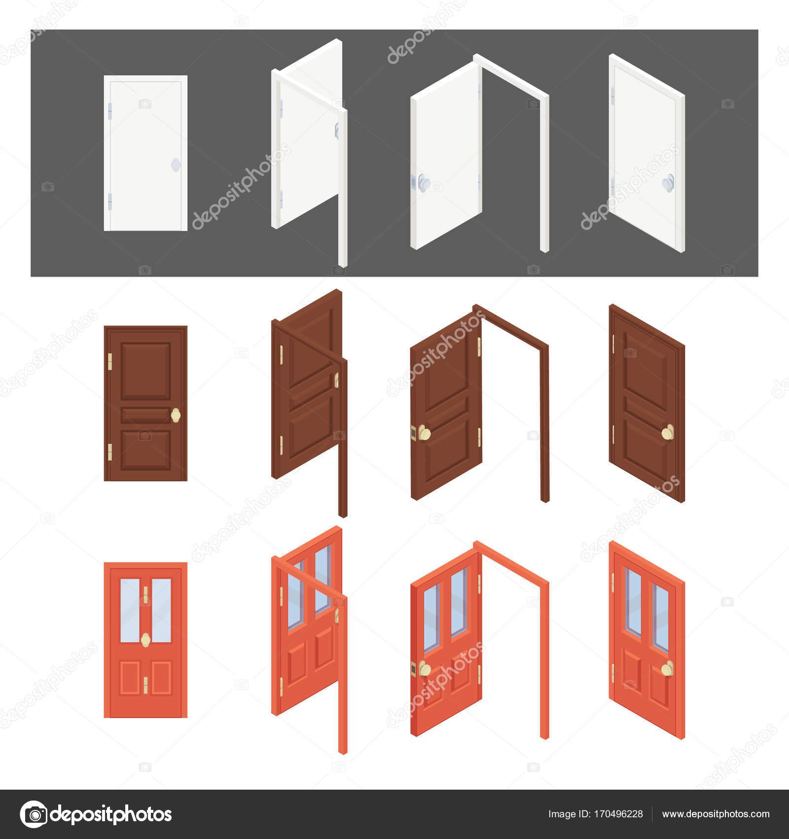 Isometrische Sammlung von Türen. Flache 3d geschlossen, offen ...