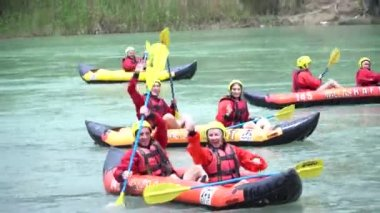 ANTALYA - TURKEY - MAY 2017: Water rafting on the rapids of river Koprucay at Koprulu Canyon, Turkey. Koprucay River is the most popular for rafters in Turkey
