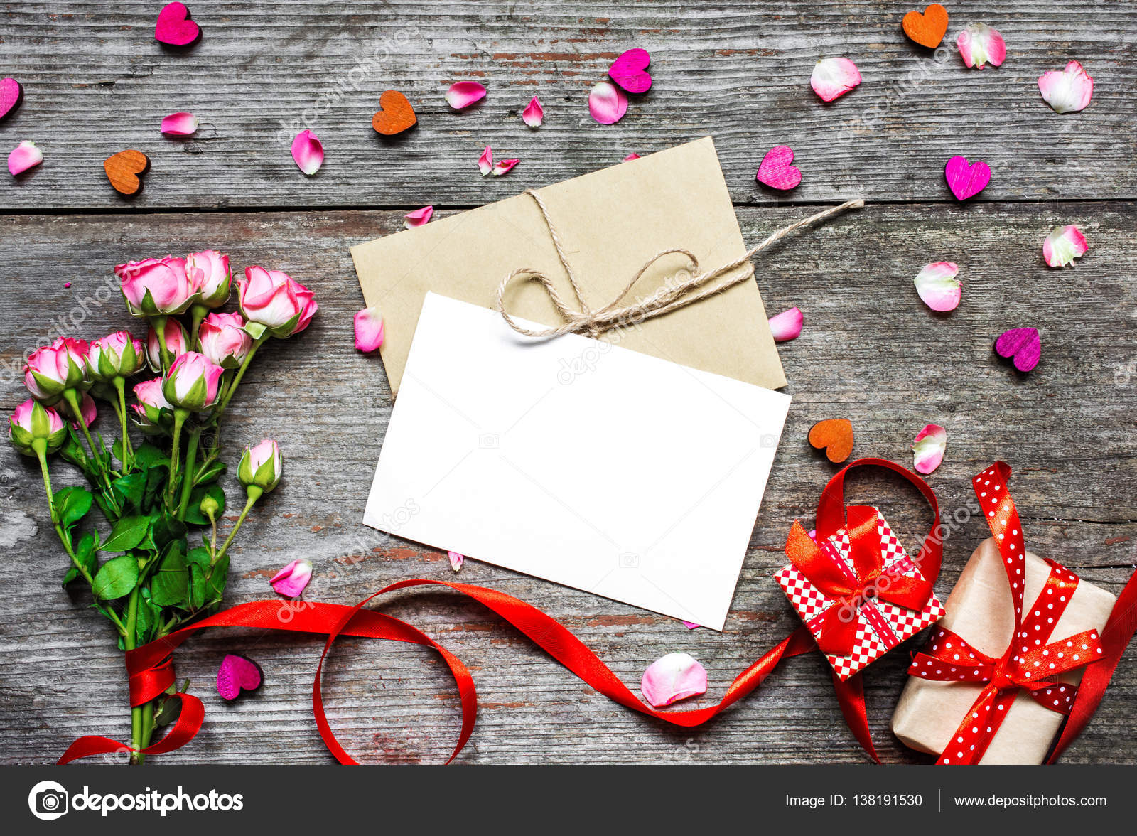 Blank White Greeting Greeting Card With Envelope And Pink Roses