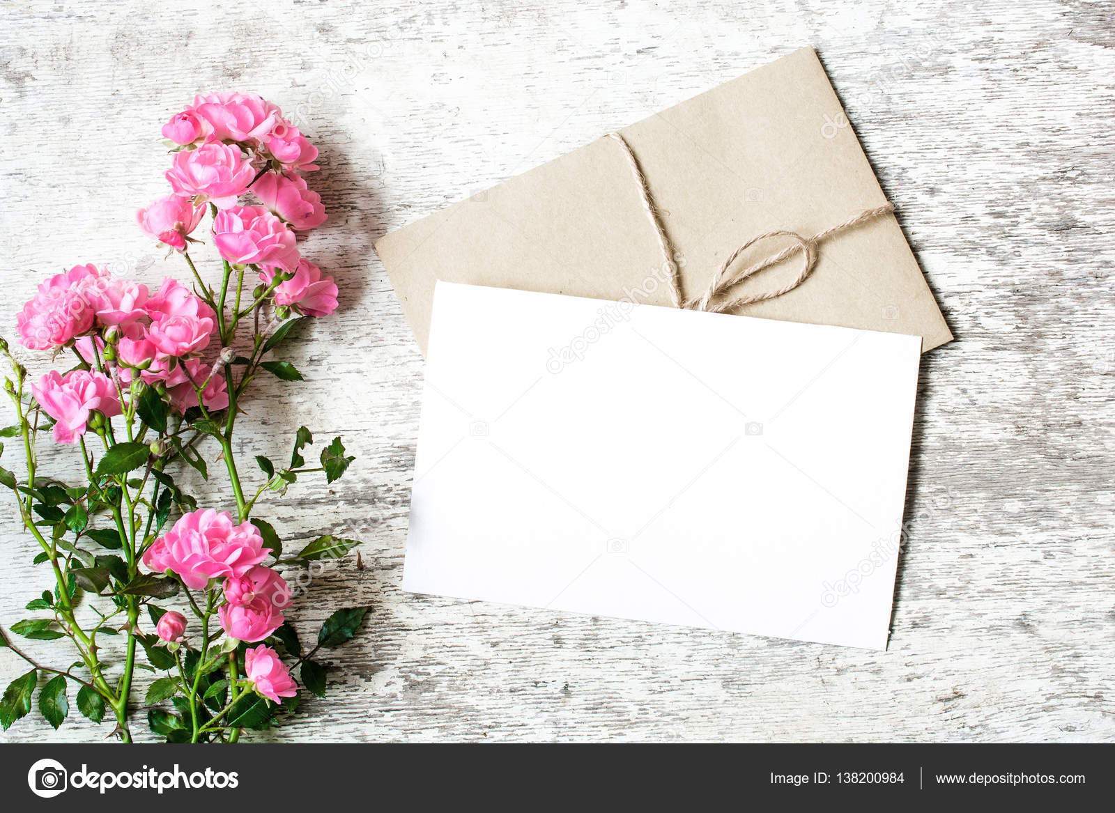 Blank white greeting card and envelope with pink rose flowers blank white greeting card and envelope with pink rose flowers mockup on white rustic wood background for creative work design top view photo by kristyandbryce Gallery
