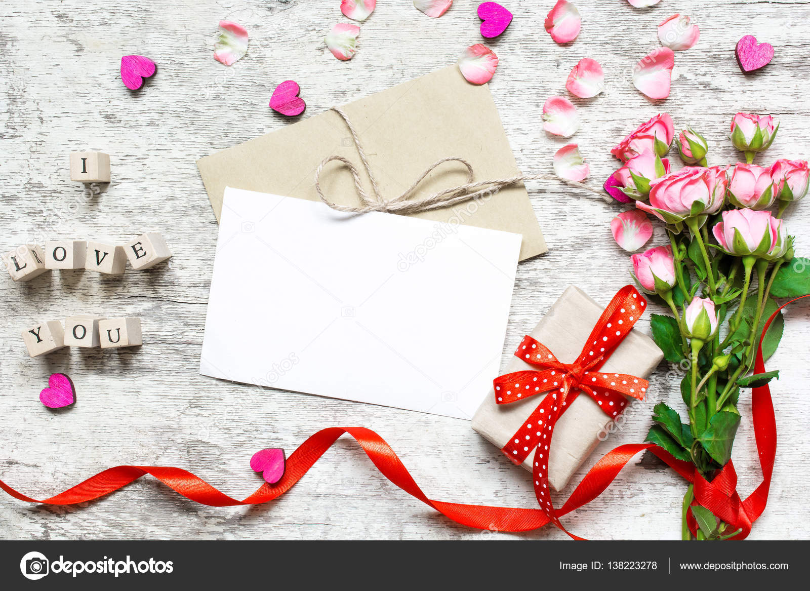Blank White Greeting Card Mockup With Pink Roses Bouquet Stock