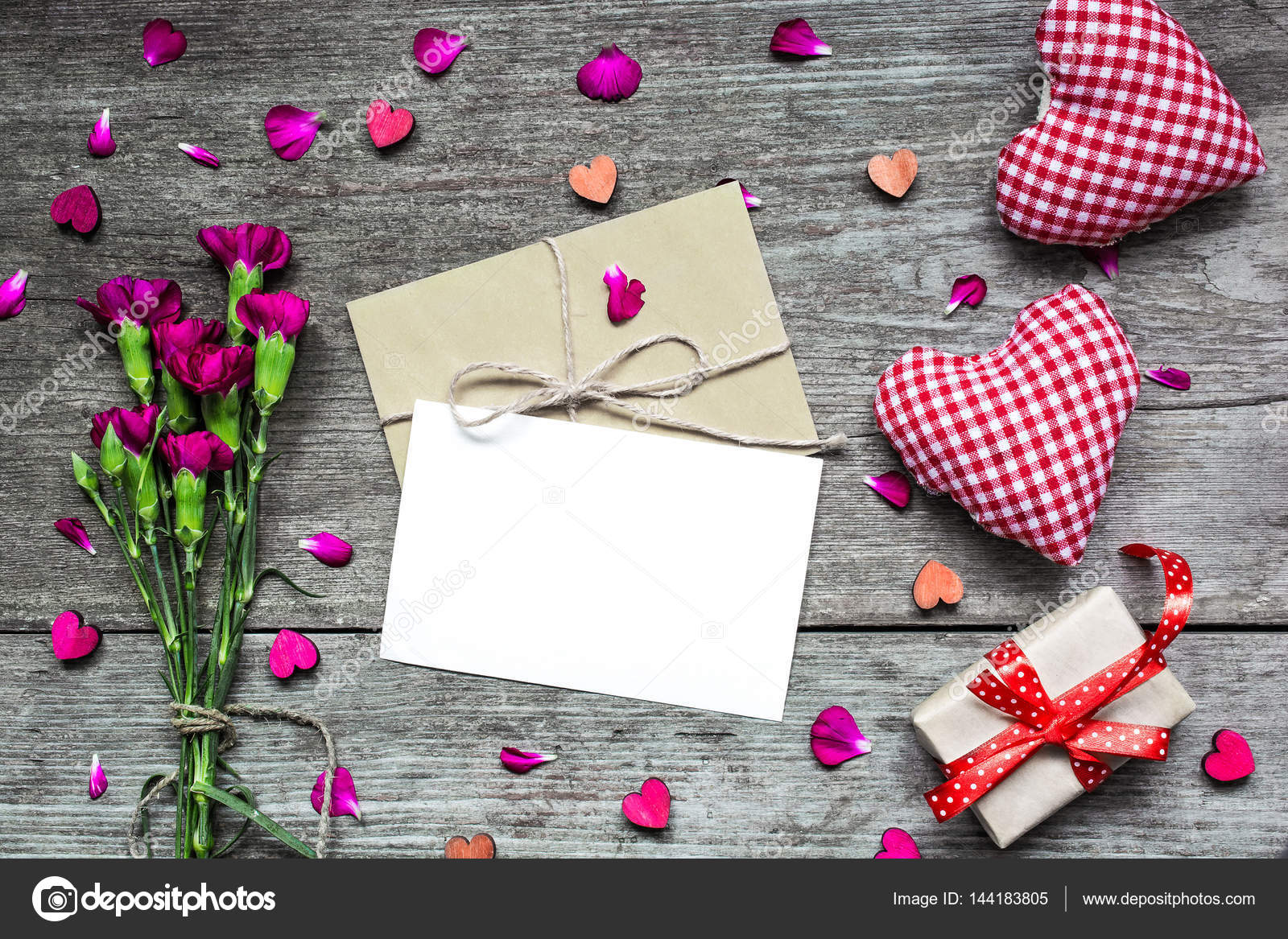 Valentines Day Background Blank White Greeting Card With Carnation