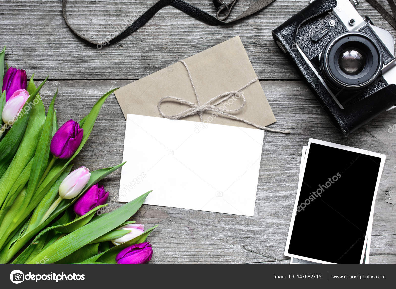 Blank Greeting Card And Envelope With Retro Camera Blank Photos