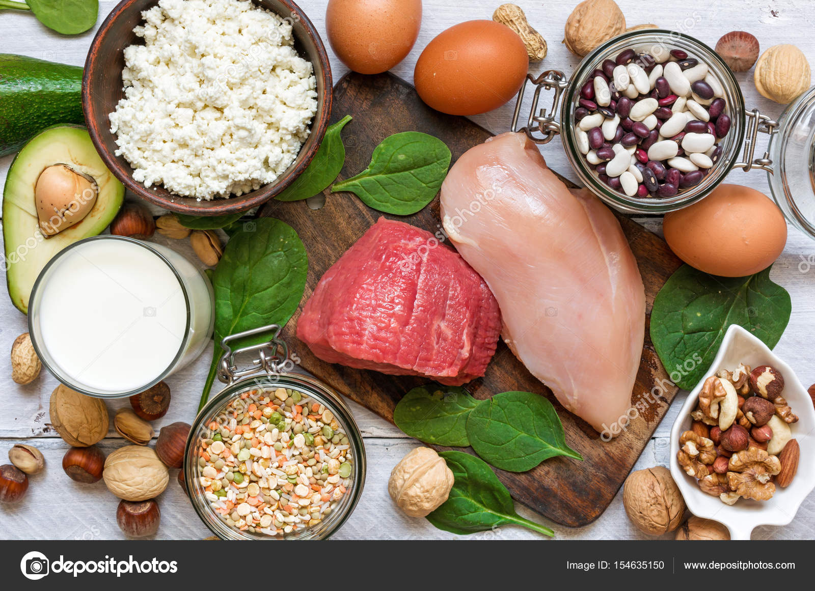 High protein food chicken meat spinach nuts eggs beans and high protein food chicken meat spinach nuts eggs beans and cheese products for healthy balance diet top view photo by samael334ail forumfinder Images
