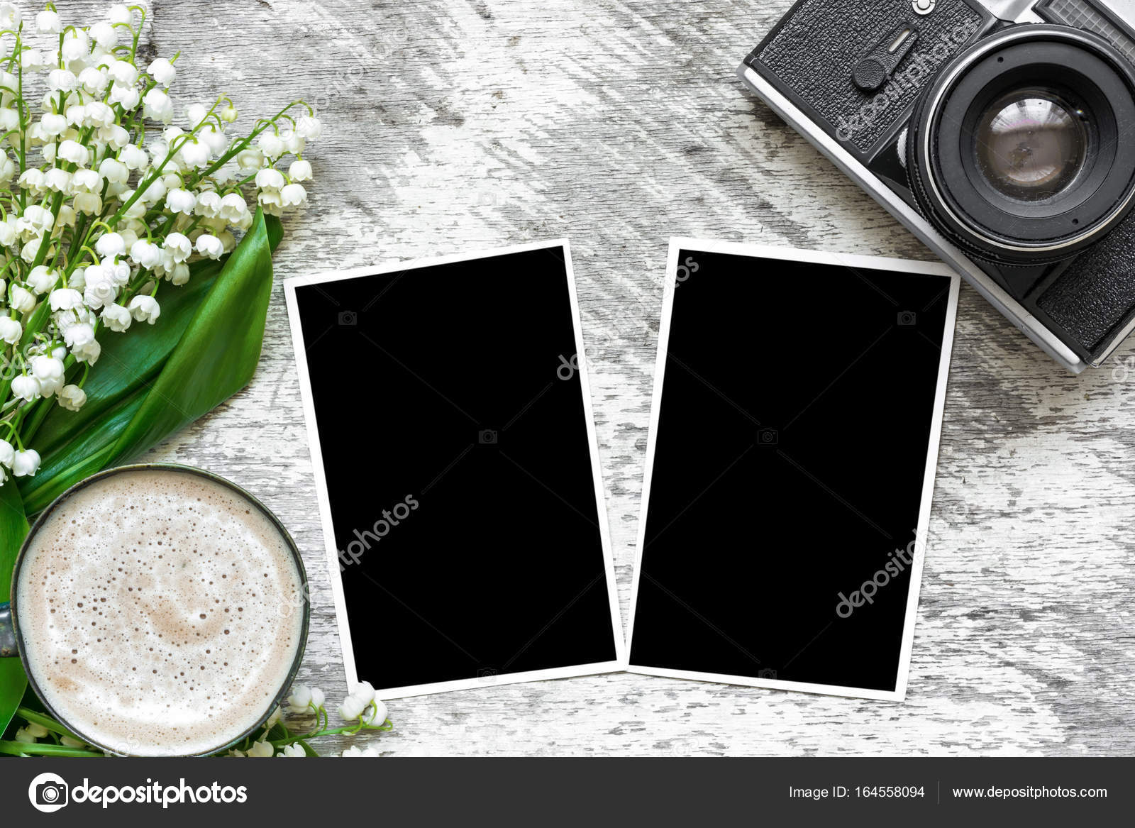 vintage retro camera with blank photo frames to put your pictures ...