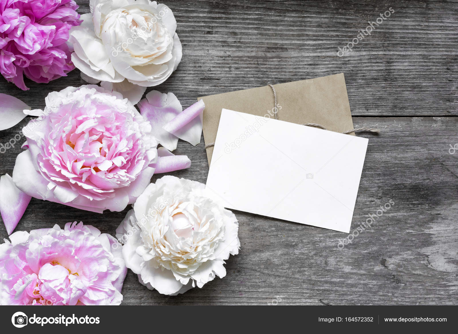 blank greeting card or wedding invitation and envelope with tender