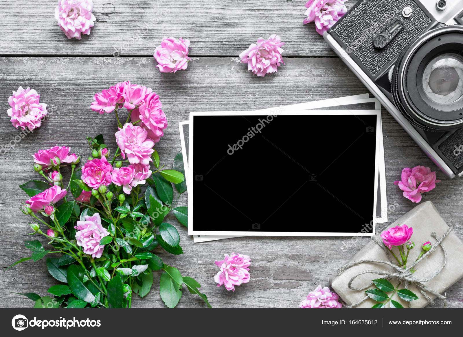 Blank Photo Frame And Retro Camera With Pink Rose Flowers And Gift